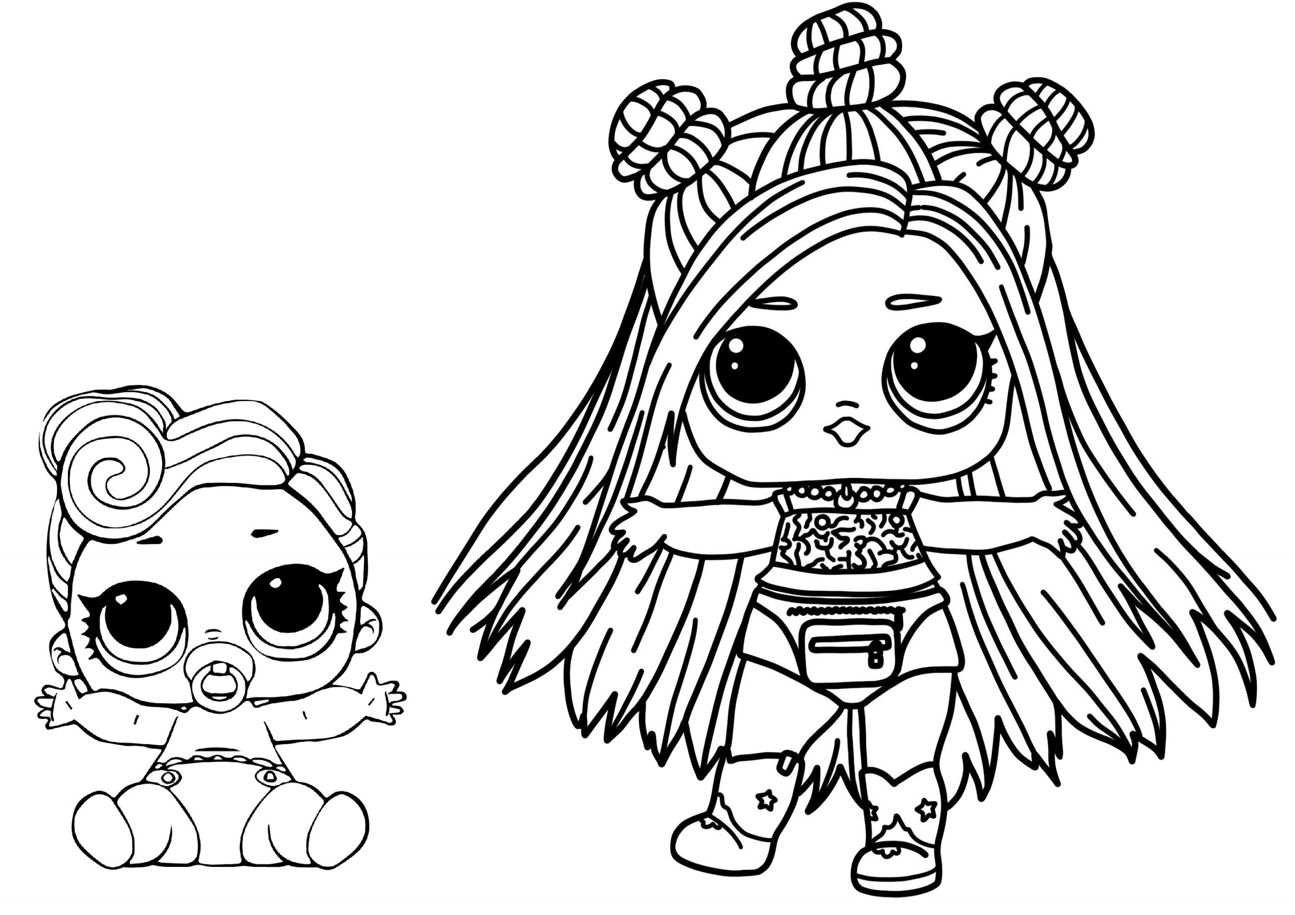 Baby and Fashion LOL Coloring Pages