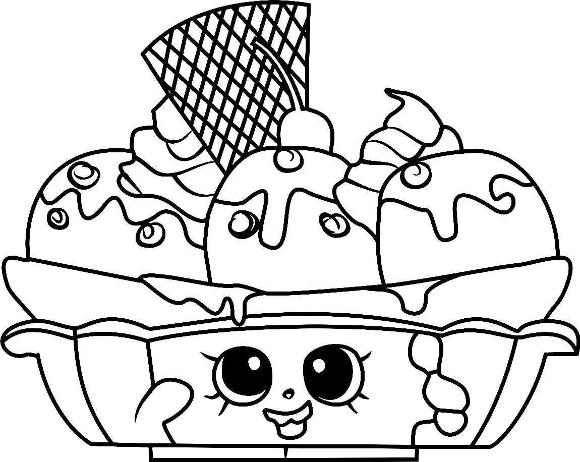 Cute Banana Splitty Ice Cream Shopkin Coloring Page