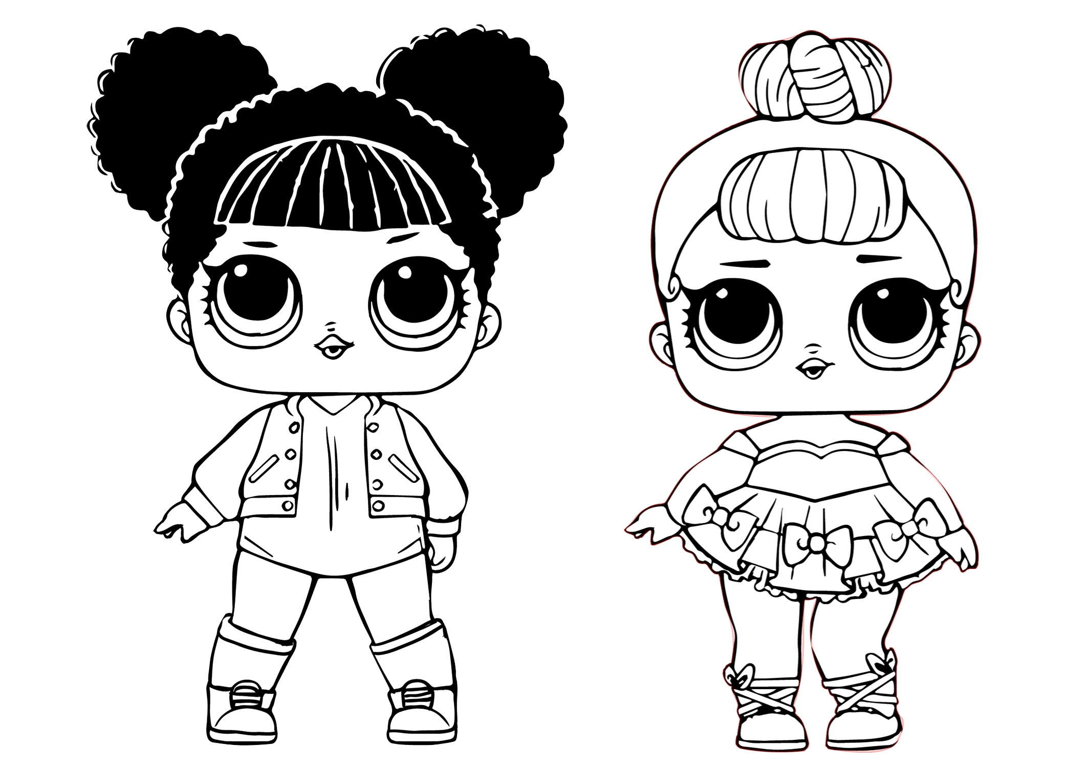 Glitter Baby and Hoops Basketball Player LOL Dolls Coloring Pages