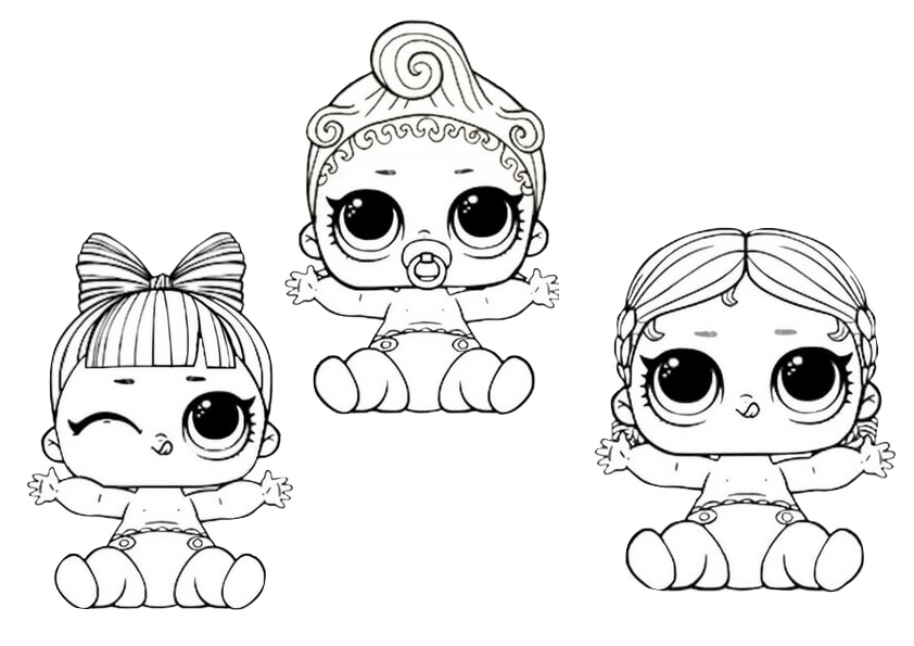 Happy Baby LOL Dolls Coloring Pages