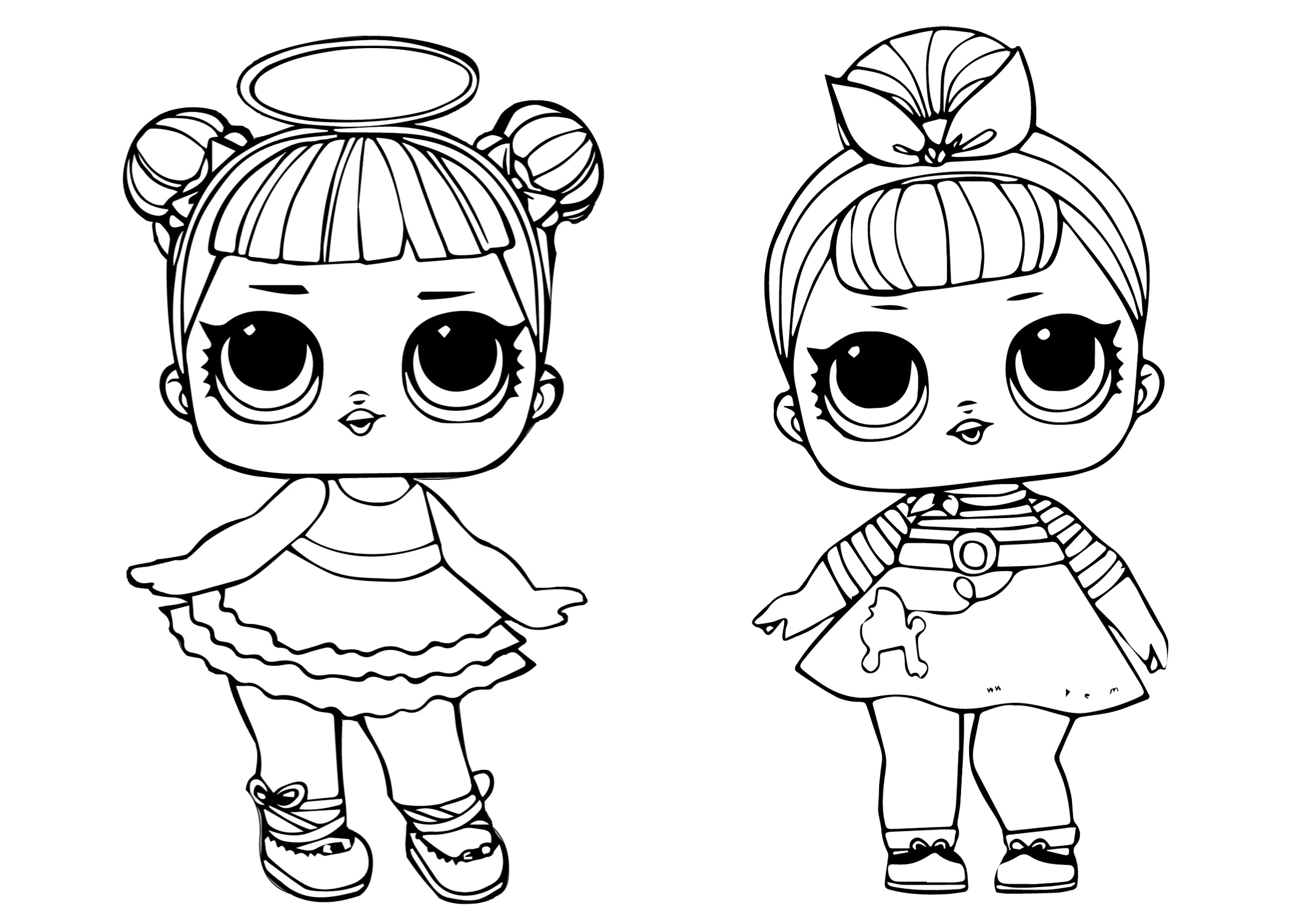LOL Sugar Doll and Sis Swing Doll Coloring Pages