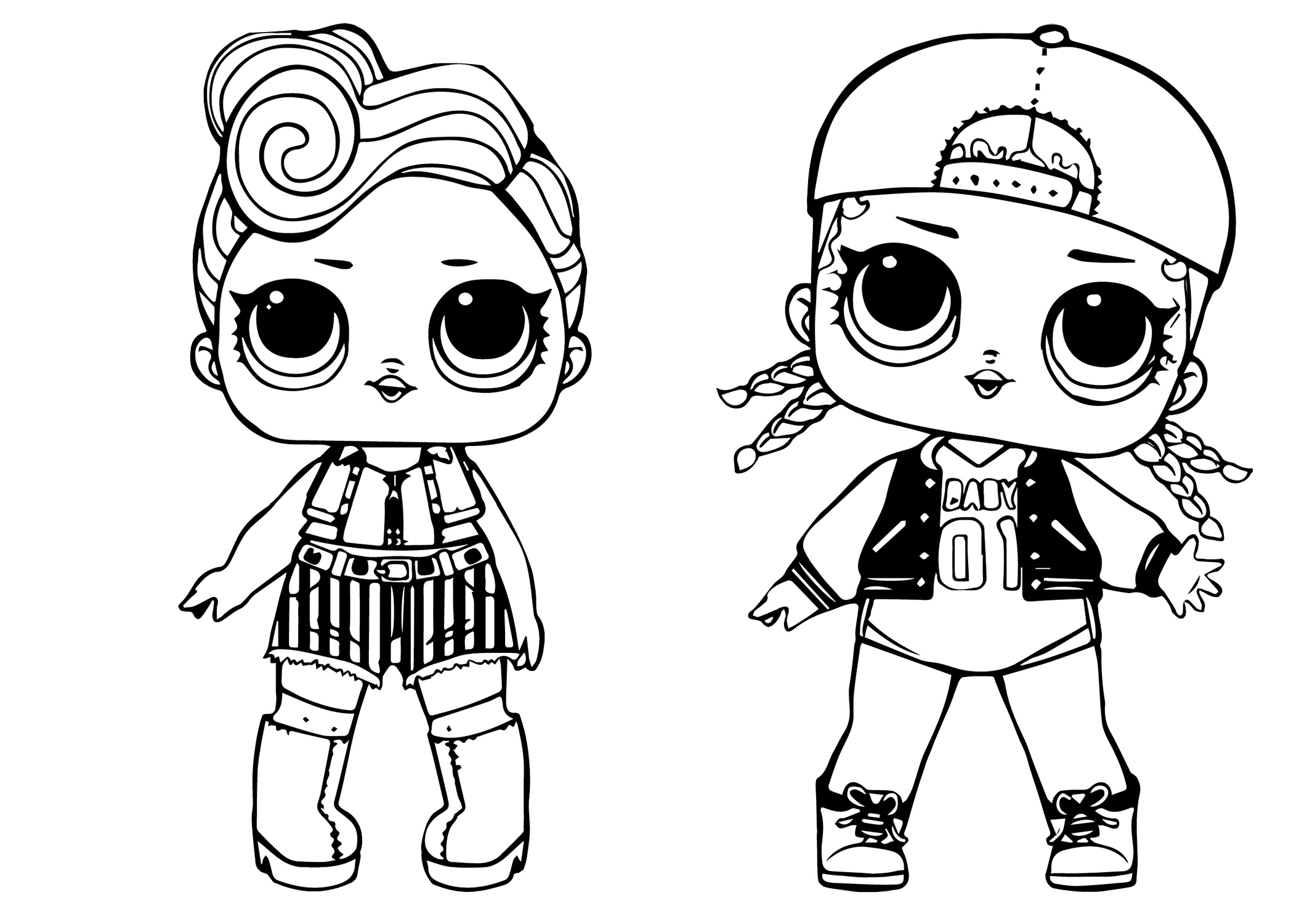 Surprise Dolls MC Swag and Rock Club Funky LOL Coloring Pages