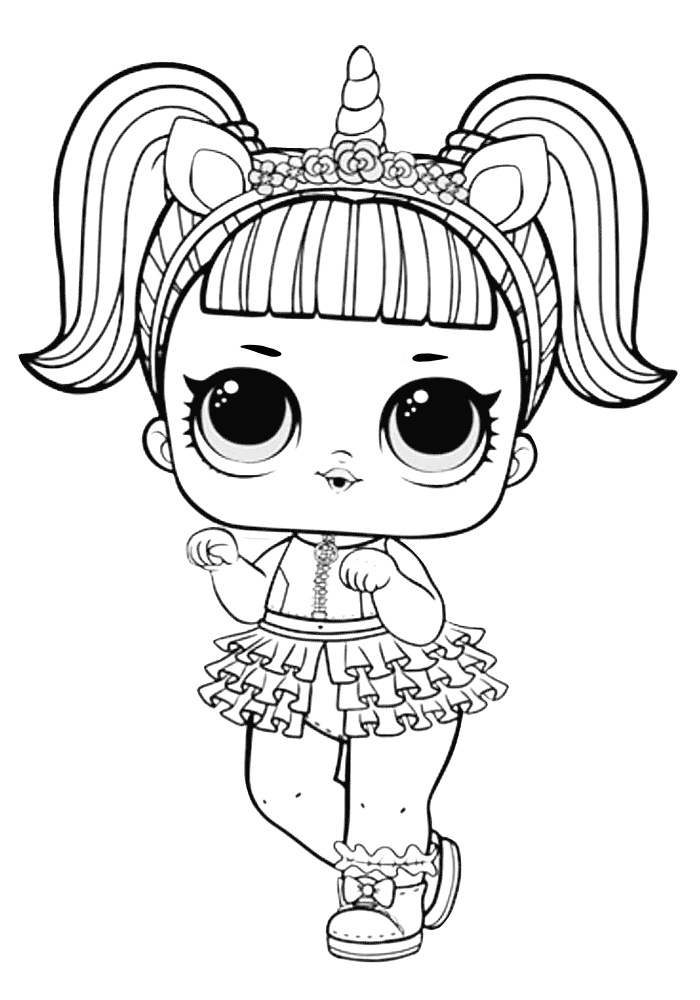 Unicorn Like LOL Doll Coloring Pages